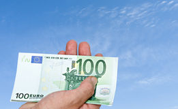 Euro banknote in hand Royalty Free Stock Image