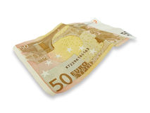 50 euro Banknote. Isolated on a white background Royalty Free Stock Photo