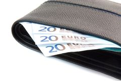 Euro banknote in leather wallet Royalty Free Stock Image