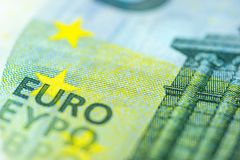 Euro Banknote in a macro shot. Five Euro Banknote in a macro shot Royalty Free Stock Photography