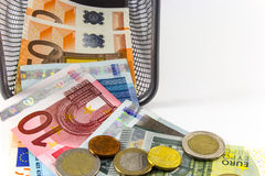 Euro banknote in metal basket Stock Photography