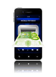 Euro banknote with mobile phone isolated on white Royalty Free Stock Image