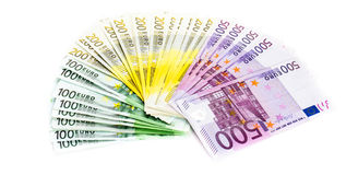 Euro banknote money finance cash on white background Royalty Free Stock Images