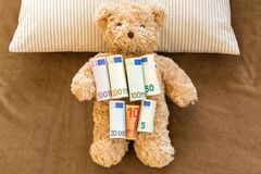 Euro banknote money on soft bear resting on stripe pillow and br Royalty Free Stock Photo