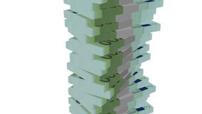 Euro banknote money tower on white stock video