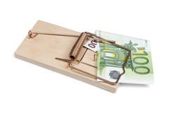 Euro banknote in mouse trap Royalty Free Stock Photos