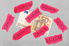 Euro banknote with negative marks Royalty Free Stock Images