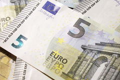 5 euro banknote. New 5 euro banknote type 2013 stock photos