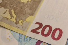 200 euro banknote. Original macro photo two hundred euro banknote, europe Stock Image