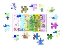 Euro Banknote Puzzle Stock Photos