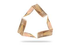 50 Euro banknote in recycle symbol shape. Isolated on white with clipping path stock illustration