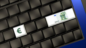 Euro banknote and sign on the laptop keyboard Stock Photography