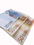 Euro banknote. Twenty and fifty euro banknote Royalty Free Stock Image