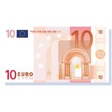 Euro banknote vector. 10 euro banknote vector illustration isolated over white background