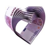 500 Euro Banknoten - Herzform. 500 Euro Notes as a shape of heart - 3d illustration stock illustration