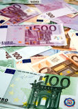 Euro banknotes. Pile of assorted European banknotes Royalty Free Stock Images