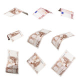 Euro banknotes. Variations of flying/tumbling banknotes isolated on white - other files for more variations available Royalty Free Stock Photography