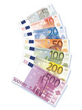Euro banknotes. Set of euro banknote illustration isolated over white background Stock Image