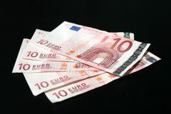 Euro banknotes. On the black Stock Photo
