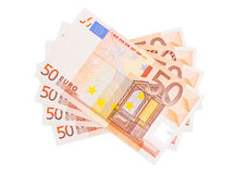Euro banknotes. The picture shows some fifty euro banknotes on white background Stock Photos