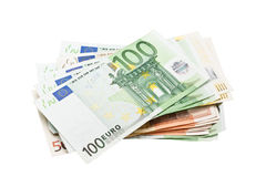 Euro banknotes. Pile of euro banknotes money Royalty Free Stock Images