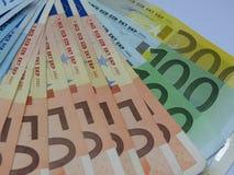 Euro banknotes. Euro (EUR) banknotes - legal tender of the European Union Royalty Free Stock Photo