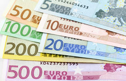 Euro banknotes. Five to five hundred Stock Image