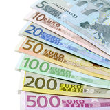 Euro banknotes. Five to five hundred Stock Photography