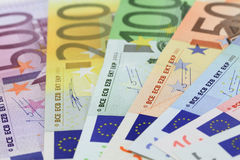 Euro banknotes. Fifty to five hundred Stock Photos