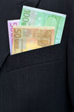 Euro banknotes. In a breast pocket of a jacket Stock Image