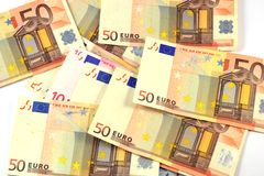 Euro banknotes. (fifties) distributed on the surface Stock Photo