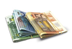 Euro banknotes. Fifty, twenty and hundred tied up with with rubber band Stock Photography