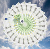 Euro banknotes. Euro banknotes spread out in a circle royalty free stock image