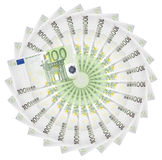 Euro banknotes. Euro banknotes spread out in a circle royalty free stock photography