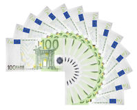 Euro banknotes. Euro banknotes spread out in a circle stock images
