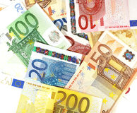 Euro banknotes. Background of plenty of euro banknotes Stock Image
