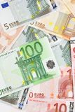 Euro banknotes. Background with different euro banknotes Stock Image