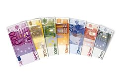 Euro banknotes. All euro banknotes money on the white Stock Photos