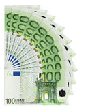 Euro banknotes. One hundred Euro banknotes, isolated Stock Illustration