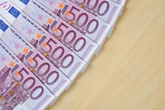 Euro banknotes. On a table Stock Image