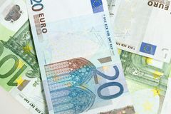 Euro banknotes arranged in background Stock Images