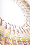 Euro banknotes arranged in a semi-circle Royalty Free Stock Photos