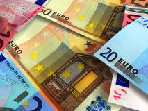 Euro banknotes background. Macro of several euro banknotes. Money background. Very high resolution Stock Photography
