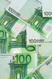 Euro banknotes background. Green background made of banknotes of one hundred euros stock images