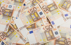 50 euro. Banknotes of 50 euro background stock illustration