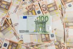 50 euro. Banknotes of 50 euro background royalty free illustration
