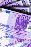 Euro banknotes. Background of 500 euro banknotes Royalty Free Stock Image