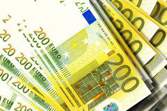 Euro banknotes. Background of 200 euro banknotes Royalty Free Stock Photography