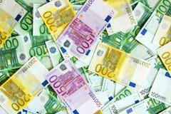 500 200 100 euro banknotes. Euro banknotes in the background, background texture consisting of euro banknotes Stock Photos