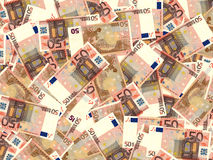 Euro banknotes background. Fifty euro banknotes background. 3D illustration Royalty Free Stock Photography